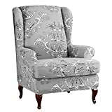 Feian 2pcs Wing Chair Slipcovers Stretchy Wingback Armchair Covers Spandex Polyester Sofa Covers Leaves Printed Furniture Protector (Grey)
