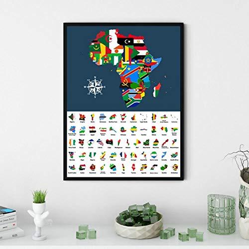 Terilizi-kaart uit Afrika gemengd met landen vlaggen kunst poster afdrukken collectie alle Afrikaanse kaarten gecombineerd canvas schilderij Home Decor-40X60cm Geen lijst