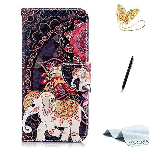 Huawei Honor 7A Handyhülle,Huawei Honor 7A Hülle,TOUCASA Brieftasche flip etui tasche 360 grad Karte Halterung Kartenfächer extra Dünn Klapphülle Leinwand Farbmalerei Art fürHuawei Honor 7A(Elefant)