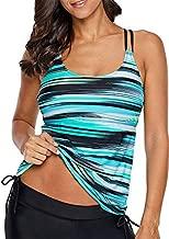 Womens Striped Bandeau Print Summer Racerback Sporty Blouson Slimming Tankini Top Swim Top No Bottom Swimsuit Bathing Suit Swimwear Green Medium 8 10