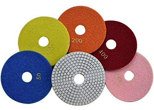 Konfor Wet Diamond 5 inch Polishing Pads 5 Packs for Granite Marble Travertine Concrete Quartz Terrazzo Renew