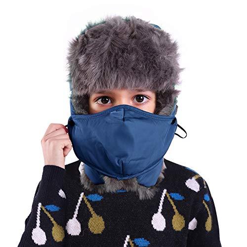 AYAMAYA Fliegermütze für Jungen Mädchen Wintermütze Warm Kindermütze Fellmütze Winter Trapper Trooper Hüte Pilotenmütze mit Ohrenklappen und Maske Outdoor Russische Ski Mütze