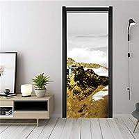 ドア壁画ウォールステッカー 山のドアのステッカーの壁紙防水ポスターウォールステッカー家の装飾