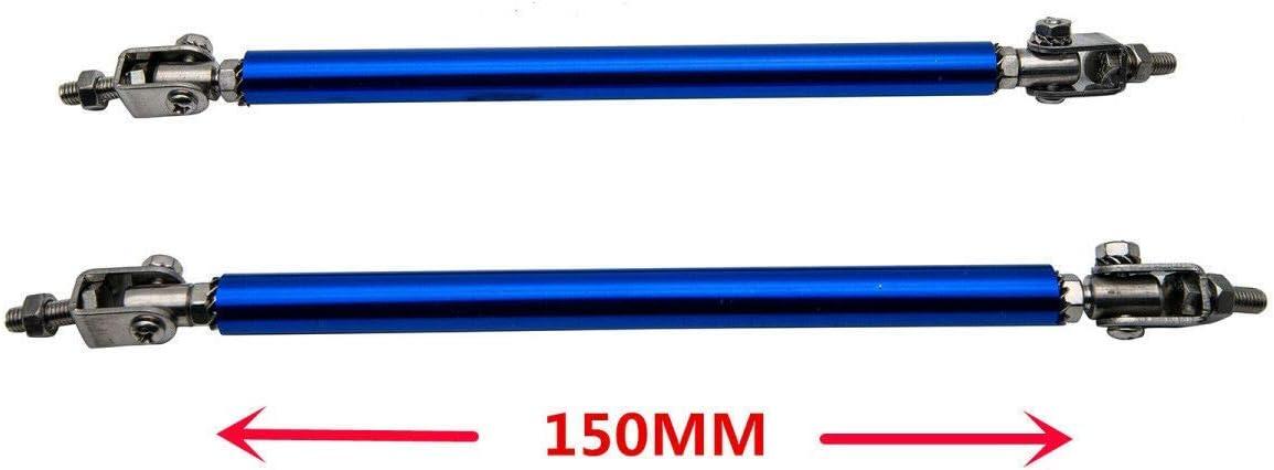 Riloer 2 Piezas Varillas de Puntal de Labio de Parachoques Delantero Ajustables Varilla Divisoria de Soporte de Barra de Lazo 75 mm Azul