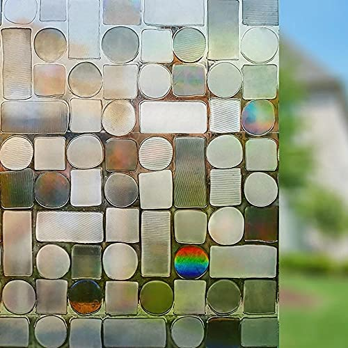 Película de Ventana de Cristal láser 3D, Pegatina de Vidrio autoadhesiva de Vinilo, Adecuada para baño Familiar, Cocina, Sala de reuniones K 45x200cm