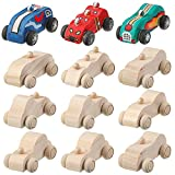 12 Pieces Wood DIY Car Toys, Unfinished Wooden Cars, Crafts for Students Home Activities, Easy Woodworking and Family Time Set