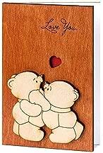Handmade Real Wood Love You Teddy Bears Funny Novelty Happy Birthday B Day Greeting Card 5th 5 Dating Wedding Anniversary Wooden Gift for Him Her Boy Girl Mom Dad Boyfriend Girlfriend Husband Wife e