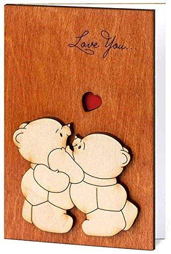 Handmade Real Wood Love You Teddy Bears Funny Happy Birthday B Valentines Day Greeting Card 5th 5 Dating Wedding Valentine Wooden Gift for Him Her Boy Girl Mom Dad Boyfriend Girlfriend Husband Wife e