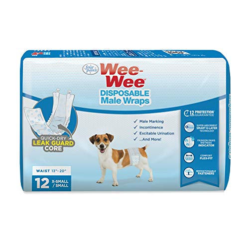 Four Paws Wee-Wee Disposable Male Dog Wraps 12 Count X-Small / Small