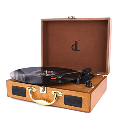 Record Player, Vintage 3 Speed Portable Suitcase Record Player with Built-in Speakers, Upgraded Turntable Audio Sound, 3.5mm AUX & RCA & Headphone Jack