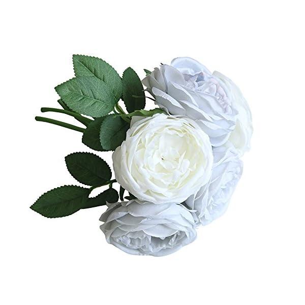 Longay Artificial Fake Rose Silk Flowers 5 Flower Head Leaf Garden Decor Bridal Bouquet