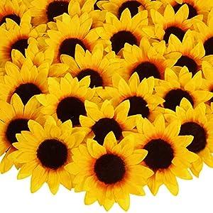 "Silk Flower Arrangements 50 Pcs Artificial Sunflower Heads Bulk Silk Sunflower Heads Fake Floral Daisies 5.1"" Wide for Thanksgiving Fall Autumn Wedding Table Decoration Shower Corsages Wreaths Garland Floral Arrangements"