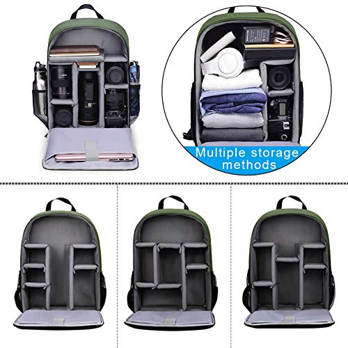 CADeN Kamerarucksack Camera Backpack Wasserabweisend Kameratasche Fototasche Kompatibel mit Sony Canon Nikon und 1 DSLR/SLR 7 Objektiv Stativ Zubehör (Grün-L)
