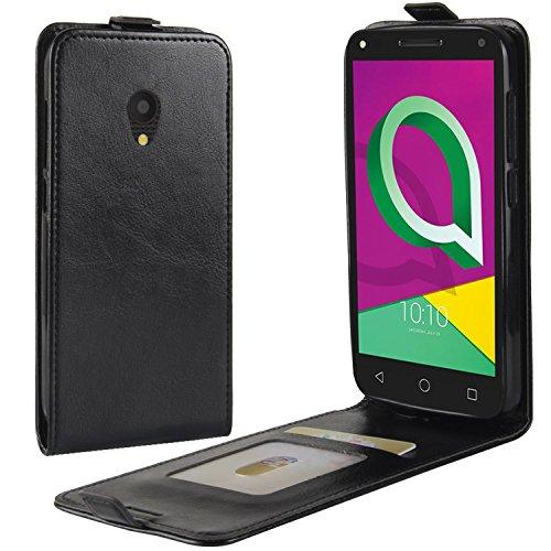 HualuBro Alcatel U5 3G Hülle, Leder Brieftasche Etui Tasche Schutzhülle HandyHülle [Magnetic Closure] Leather Wallet Flip Hülle Cover für Alcatel U5 3G (Schwarz)