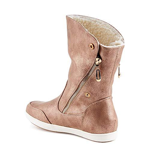 Fusskleidung Damen Boots Flach Gefütterte Schlupf Stiefel Stiefeletten Rose Gold EU 39