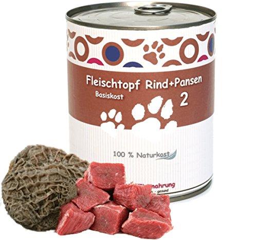 6 x 800 g - Wittis Fleischdosen für Hunde - garantiert OHNE künstliche Vitamine!!- Fleisch pur - Rind und Pansen - pur - Barf in Dosen - Dosenfutter ohne Zusätze