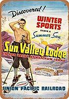2個 8 x 12 cm メタル サイン - スキー サン バレー ユニオン パシフィック メタルプレート レトロ アメリカン ブリキ 看板