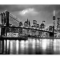 murando Fotomurales New York 300x210 cm XXL Papel pintado tejido no tejido Decoración de Pared decorativos Murales moderna de Diseno Fotográfic Ciudad Luna Noche d-B-0205-a-a