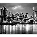 murando Fotomurales New York 350x256 cm XXL Papel pintado tejido no tejido Decoración de Pared decorativos Murales moderna de Diseno Fotográfic Ciudad Luna Noche d-B-0205-a-a