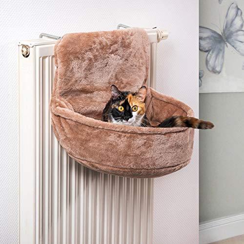 CanadianCat Company ® | Knuffelzak voor radiatoren | Sand Beige | Liegemuld voor katten | verstelbare band | ca. 45x13x33cm