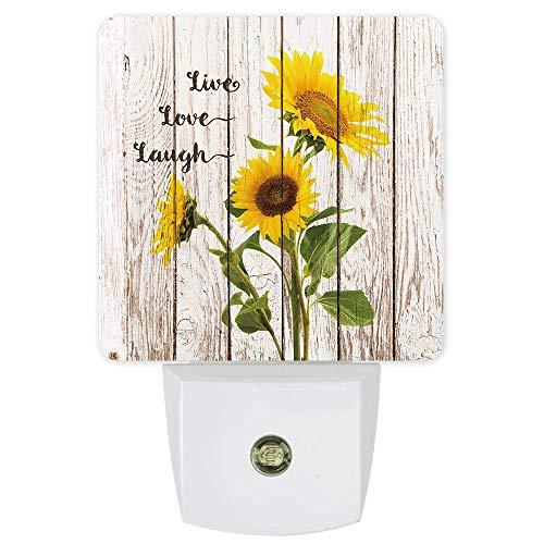 Lámpara de luz nocturna con sensor de girasol amarillo con luz LED de pared, sensor de atardecer a amanecer para dormitorio, lactancia de bebé, baño, cocina, pasillo, escaleras, madera rústica