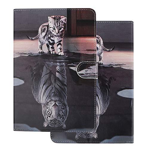 Hülle für PC Tablette Universal 10 Zoll (9.5-10.5 Zoll) - Tasche Leder Flip Case Etui Schutzhülle Cover für 9.6 9.7 10.1 10.2 10.4 10.5 Tablet, Katze und Tiger