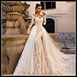 Vestido de novia Vestido de novia de manga larga atractiva de la sirena de boda desmontable de tren 2 en 1 vestidos de boda Vestido de Noiva vestidos novia ( Color : Ivory , US Size : 16W )