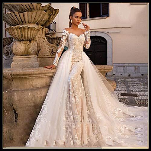 QING XIN-1225 Ballkleid,brautkleid Reizvoller Schatz-Lange Hülsen-Nixe-Hochzeits-Kleid abnehmbaren Zug 2 in 1 Brautkleider Vestido De Noiva Abendkleid,Abendkleider elegant für Hochzeit