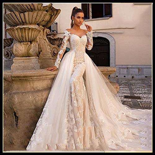 Vestido de novia Vestido de novia de manga larga atractiva...