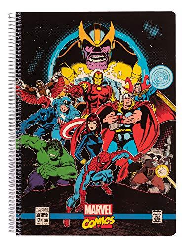 Libreta A4 Marvel, Los vengadores. Libretra cuadrícula 120 páginas | Cuaderno tapa polipropileno 4x4