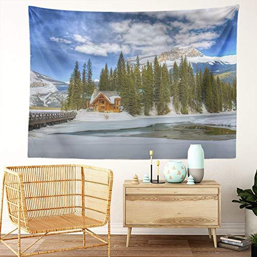 Y·JIANG Tapiz de paisaje canadiense, Emerald Lake Chalet Yoho National Park British Columbia Home Dormitorio, tapiz grande decorativo de pared ancha para sala de estar, dormitorio, 203 x 152 cm