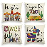 AVOIN Cinco De Mayo Fiesta Sombrero Gnome Throw Pillow Cover, 18 x 18 Inch Cactus Donkey Pinata Cushion Case for Sofa Couch Set of 4