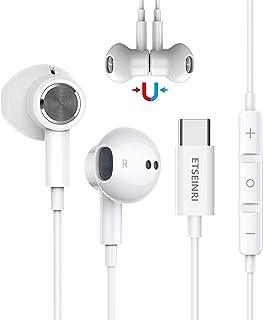 USB C hörlurar, magnetiska USB typ C hörlurar i örat trådbundna hörlurar hörlurar HiFi Stereo med mikrofon och volymkontro...