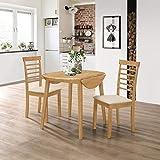 Hallowood Ledbury Small Solid Wooden Drop Leaf Round Dining Table and 2 Chairs Set, Rubberwood, Light Oak Finish, LEB-RTAB920-SET(2)-L