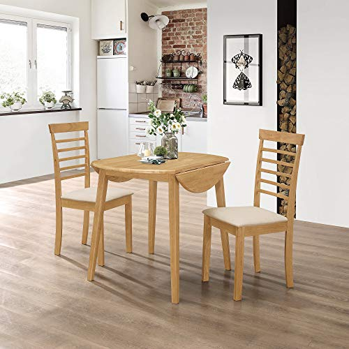 Hallowood Ledbury Small Solid Wooden Drop Leaf Round Dining Table and 2 Chairs Set, Rubberwood, Light Oak Finish, LEB-RTAB920-SET(2)-L