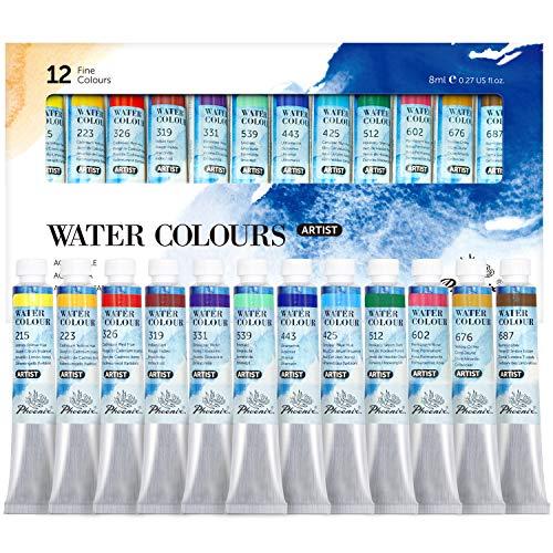 Phoenix Artist Grade Watercolor Paint Set 12 Colors x 8ml - Non-Toxic Watercolor Tubes for Professional Artists