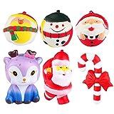 Adasea 6 Pack Christmas Jumbo Squishies Toys PU Slow Rebound Toy Kawaii Cute Santa Elk Crutch Slow Rising Squishies Toys Super Soft Squeeze Toys Stress Relief Toy