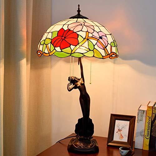 SWNN Estilo Tiffany Red Lámpara De Escritorio del Vidrio Manchado Sala Comedor Dormitorio De La Lámpara De La Lámpara De Cristal De América Rural Luz Tabla 40 * 76cm