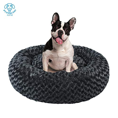 PUPPBUDD Donut Dog Bed Cat Bed, Faux Fur Pet Bed Self-Warming Donut Cuddler, Round Comfortable Rose Swirl Short Plush Beds with Removable Washable Cover for Medium Small Dogs and Cats (23''/30'')