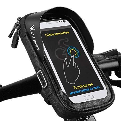 WYJW Bolsa de Cuadro de Bicicleta con Pantalla táctil Soporte de teléfono de Bicicleta Impermeable para Cualquier teléfono Inteligente Dentro de 6 Pulgadas Bolsa de Bicicleta para bicic