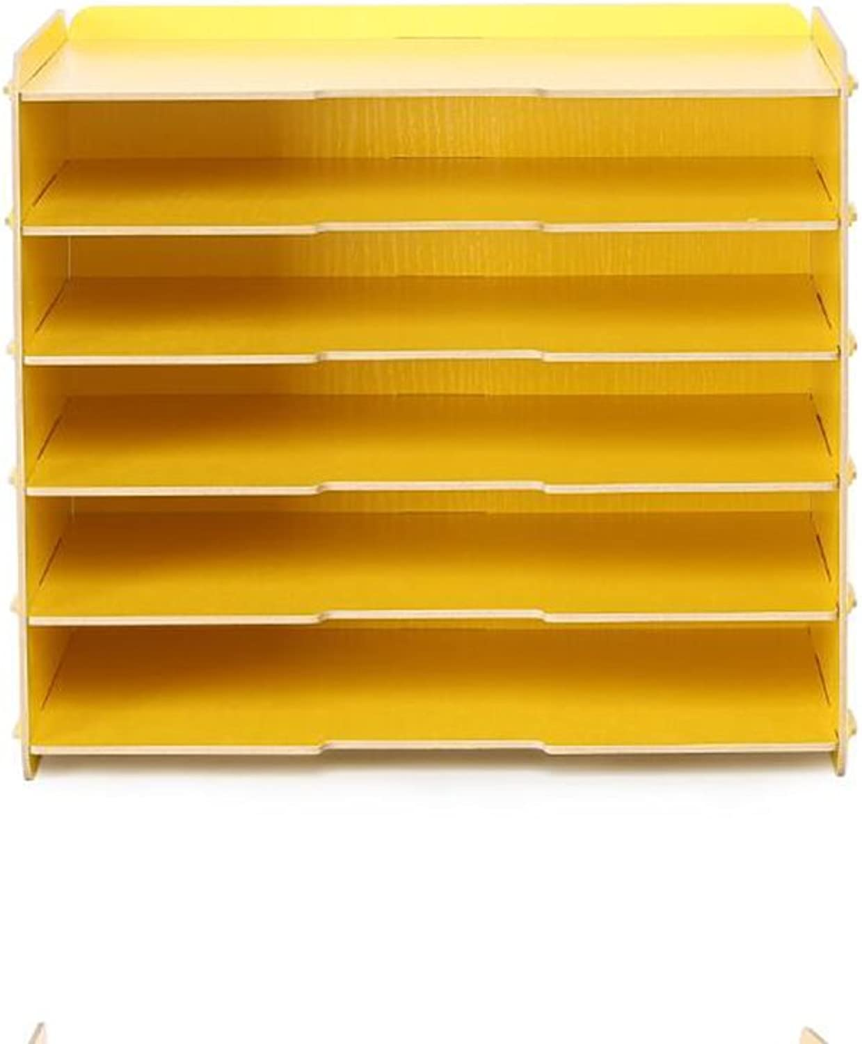 Shelf, Office File Storage Rack, Desktop File Storage Box, Multi-Layer Wooden Stationery, Office Supplies (color   Yellow)