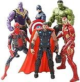 Superhero Action Figures Set of 6 PCS | Action Figure Set | Includes Batman, Hulk, Superman, Thor, Ironman & Captain Americ (3)