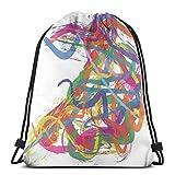 Bolsa de deporte con cordón para gimnasio, cincha de viaje, para mujeres, hombres, niños, bailarina abstracta de ballet en estilo contemporáneo, pintura de artes y mujer joven silueta