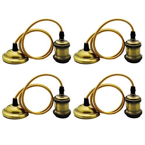 4 Stück Vintage Pendelleuchte, Metall Retro Edison Industrielle Grüne Bronze Farbe Hängeleuchte Lampe Sockel, E27 Keramik Deckenleuchte Lampenfassung mit Textilkabel