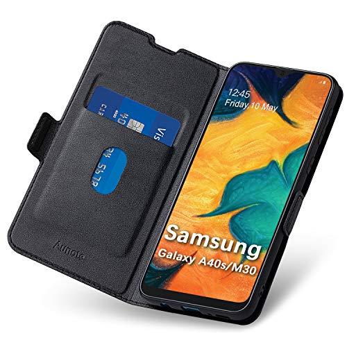 Hoesje Samsung M30, Samsung Galaxy A40S Hoesjes met Kaarthouder, Magnetische Sluiting, Kickstand. Leder Etui Hoezen, Ultraslanke Portemonnee Flip/Folio Phone Cover Case, PU + TPU Beschermhoesje.Zwart