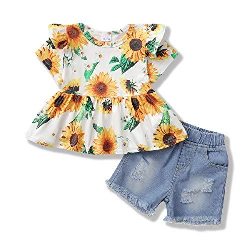 Zoerea Completini Neonata Estivi Set di Abbigliamento per Bambina Manica Corta Floreale T-Shirt Top + Pantaloncini di Jeans Neonato Moda Completo Abiti Set