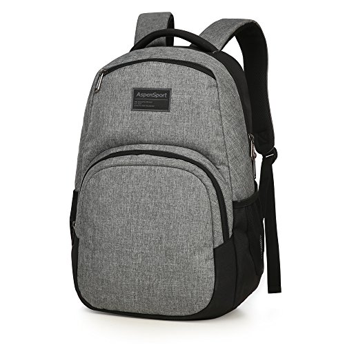 ASPENSPORT School Backpack fit 15.6 inch Laptop - Water Repellent Lightweight Durable - Casual Daypack with Bottle Side pockets 20L Light Grey