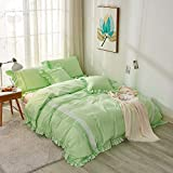 Softta Bedding Collection Japanese and Korean Princess Style Twin Size 3Pcs Duvet Cover Sets Zipper Vintage Boho Lace Patchwork Ruffle Girl Bedding Sets 100% Teal Green Natural Washed Cotton