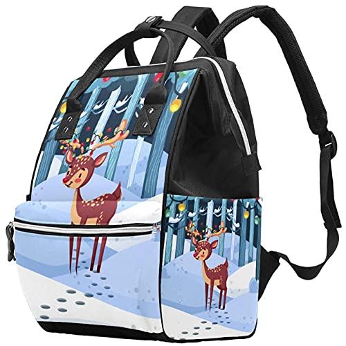 Stylish Handbag Diaper Bag Laptop Backpack Travel Rucksack Waterproof Daypack for Women Men Winter Forest Christmas Reindeer