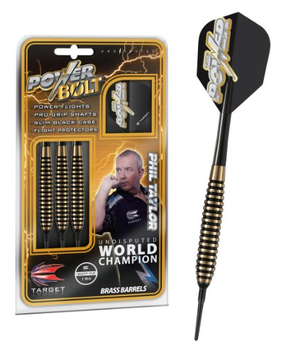 Target Darts Phil Taylor Power Bolt 18G Brass Soft Tip Darts Set Dardos, marrón, 18 g